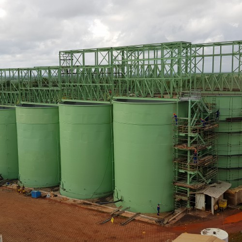 January 2018 - Refurbishing CIP tanks with painting partially complete and top of tank steel partially installed