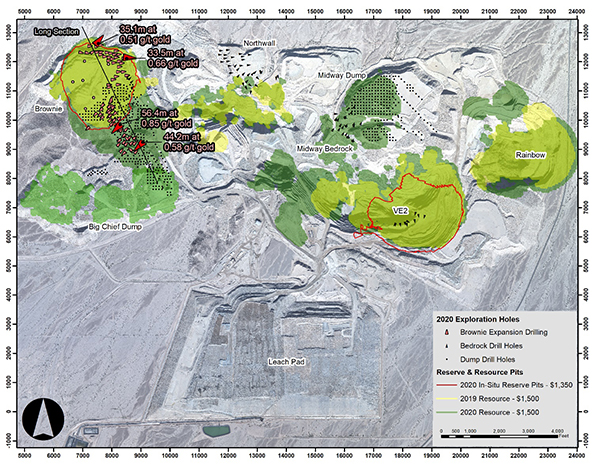 Figure 1: Mineral Resource and Mineral Reserve Map of the Mesquite Mine with 2020 Drilling