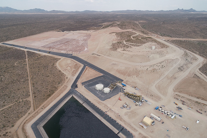 Castle Mountain Phase 1 heap leach pad (background) and processing facility (foreground)