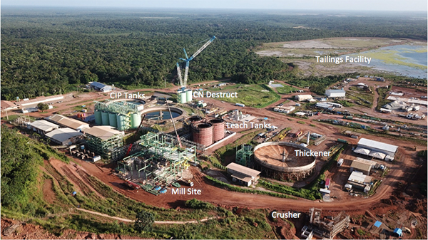 Aerial view of Aurizona Plant (foreground) and tailings facility (background)